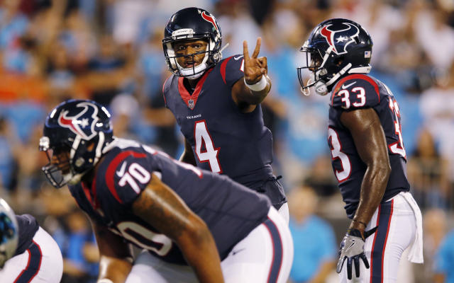 "<a class=""link rapid-noclick-resp"" href=""/nfl/players/30125/"" data-ylk=""slk:Deshaun Watson"">Deshaun Watson</a> is back from injury and the fantasy community is convinced last year's performance was no fluke. (AP Photo/Jason E. Miczek)"