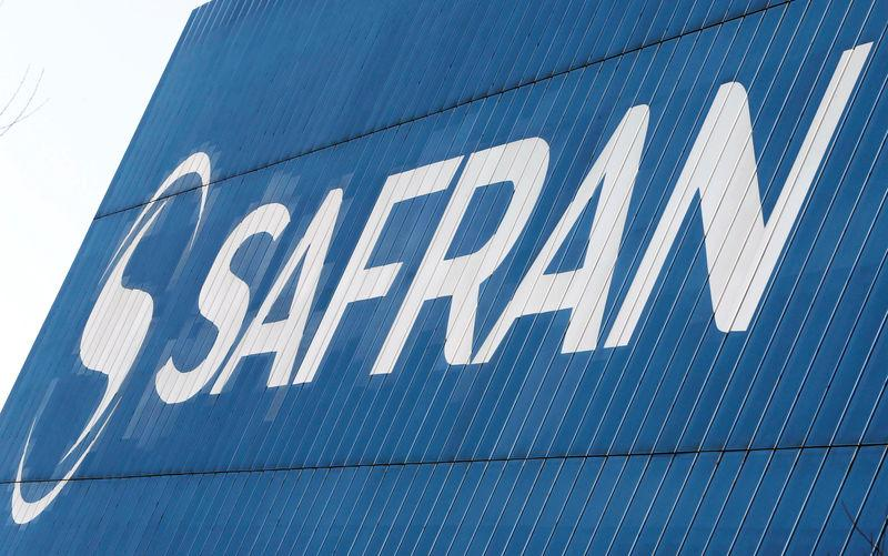 Logo of the Safran Aircraft Engines plant is seen on the company's headquarters building in Blagnac, near Toulouse