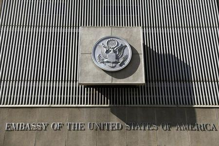 The front of the U.S. embassy is seen in Tel Aviv, Israel January 20, 2017. REUTERS/Amir Cohen/File Photo