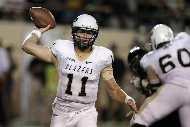 UAB quarterback Austin Brown (11) throws against Vanderbilt in the second quarter of an NCAA college football game on Saturday, Sept. 28, 2013, in Nashville, Tenn. (AP Photo/Mark Humphrey)