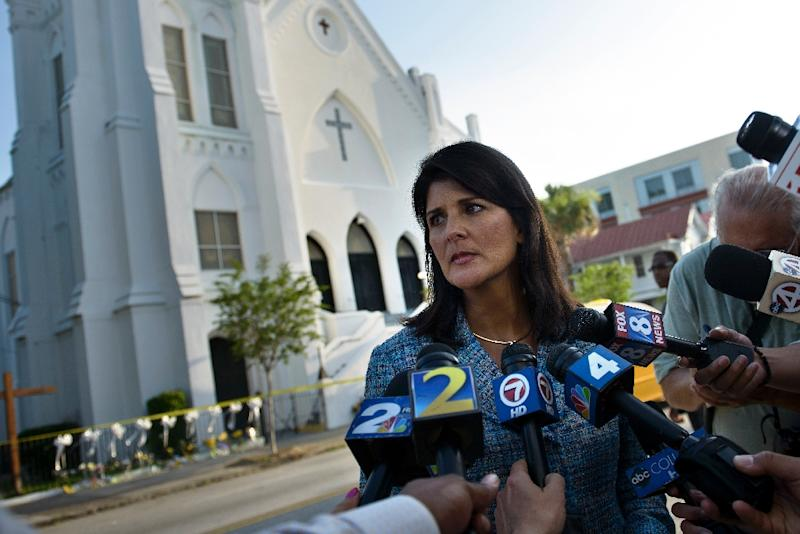 South Carolina Governor Nikki Haley speaks to press outside the Emanuel AME Church on June 19, 2015 in Charleston, South Carolina (AFP Photo/Brendan Smialowski)