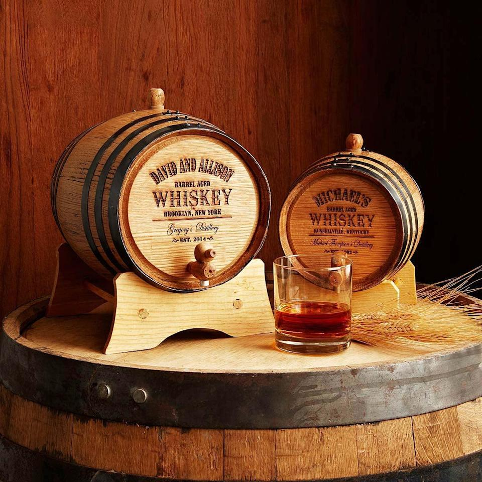 <p>He'll be touched by the thoughtfulness of this <span>Personalized Whiskey Barrel</span> ($85–$200).</p>