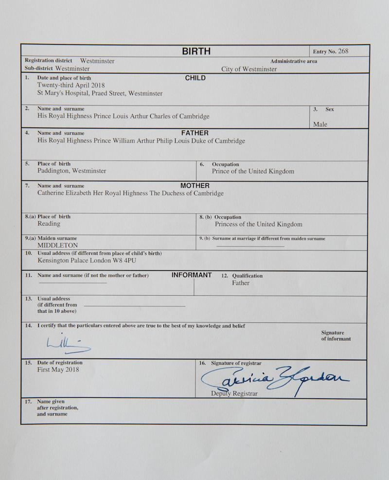 The Duke of Cambridge signed the certificate following the birth of their son, Louis [Photo: PA]
