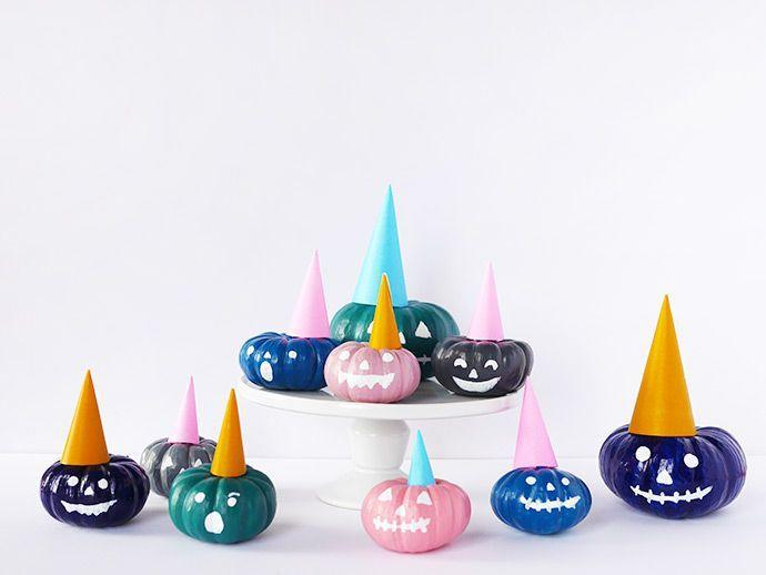 """<p>Paint can give your pumpkins a face too! Get a variety of acrylic paint colors and give them all different expressions. And no pumpkin party is complete without those easy-to-make construction paper hats. </p><p><a class=""""link rapid-noclick-resp"""" href=""""https://www.amazon.com/Apple-Barrel-Acrylic-PROMOABI-Assorted/dp/B00ATJSD8I/ref=sr_1_1?tag=syn-yahoo-20&ascsubtag=%5Bartid%7C10055.g.23570028%5Bsrc%7Cyahoo-us"""" rel=""""nofollow noopener"""" target=""""_blank"""" data-ylk=""""slk:SHOP ACRYLIC PAINT"""">SHOP ACRYLIC PAINT</a></p><p><em><a href=""""https://www.handmadecharlotte.com/painted-party-pumpkins/"""" rel=""""nofollow noopener"""" target=""""_blank"""" data-ylk=""""slk:Get the tutorial at Handmade Charlotte »"""" class=""""link rapid-noclick-resp"""">Get the tutorial at Handmade Charlotte »</a></em><br></p>"""
