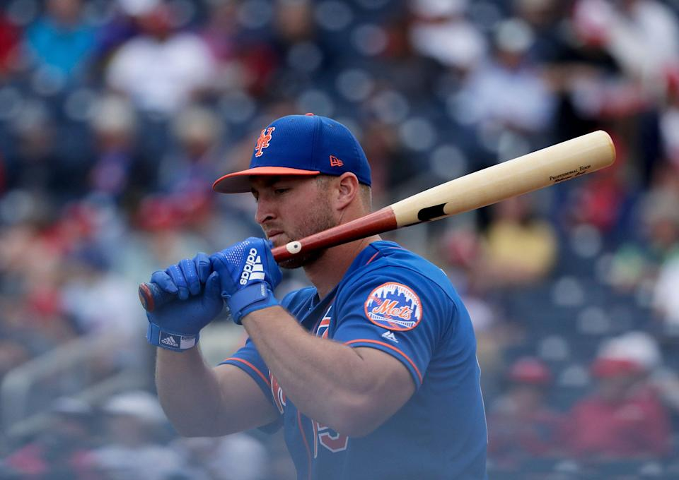 New York Mets's Tim Tebow (15) practices batting before an exhibition spring training baseball game against the Washington Nationals on Thursday, March 7, 2019, in West Palm Beach, Fla. (AP Photo/Brynn Anderson)