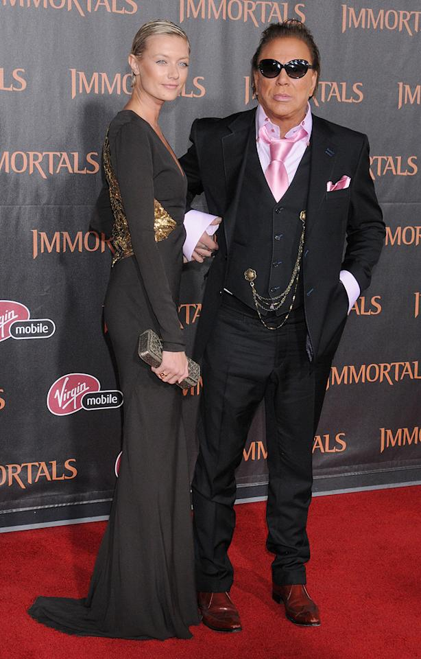 "<a href=""http://movies.yahoo.com/movie/contributor/1800010853"">Mickey Rourke</a> and guest at the Los Angeles premiere of <a href=""http://movies.yahoo.com/movie/1810150710/info"">Immortals</a> on November 7, 2011."