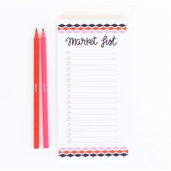 """Aztec Market List Magnetic Notepad; $12 at <a href=""""https://www.etsy.com/listing/195870184/aztec-market-list-magnetic-notepad?ref=sr_gallery_19&ga_search_query=notepad&ga_page=7&ga_search_type=all&ga_view_type=gallery"""" rel=""""nofollow noopener"""" target=""""_blank"""" data-ylk=""""slk:etsy.com"""" class=""""link rapid-noclick-resp""""><em>etsy.com</em></a>"""