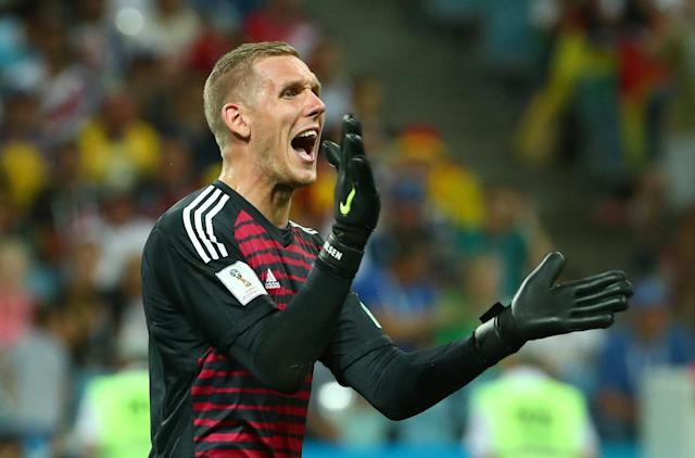 Soccer Football - World Cup - Group F - Germany vs Sweden - Fisht Stadium, Sochi, Russia - June 23, 2018 Sweden's Robin Olsen reacts REUTERS/Michael Dalder