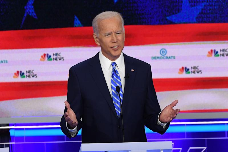 emocratic presidential hopeful former US Vice President Joseph R. Biden speaks during the second Democratic primary debate of the 2020 presidential campaign season hosted by NBC News at the Adrienne Arsht Center for the Performing Arts in Miami, Florida, June 27, 2019. | Saul Loeb—FP/Getty Images D