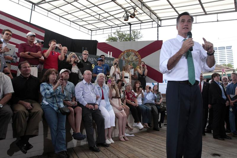 Republican presidential candidate, former Massachusetts Gov. Mitt Romney speaks at the River City Brewing Company, Thursday, May 17, 2012, in Jacksonville, Fla.  (AP Photo/Mary Altaffer)