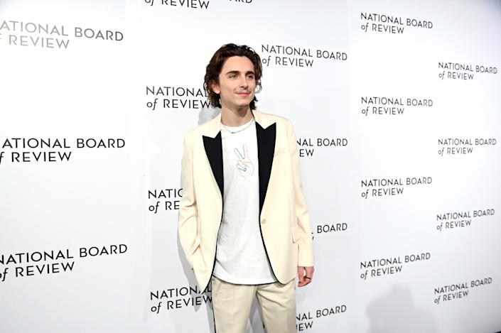 NEW YORK, NEW YORK - JANUARY 08: (L-R) Actor Timothée Chalamet   attends the 2020 National Board Of Review Gala on January 08, 2020 in New York City. (Photo by Mike Coppola/FilmMagic)