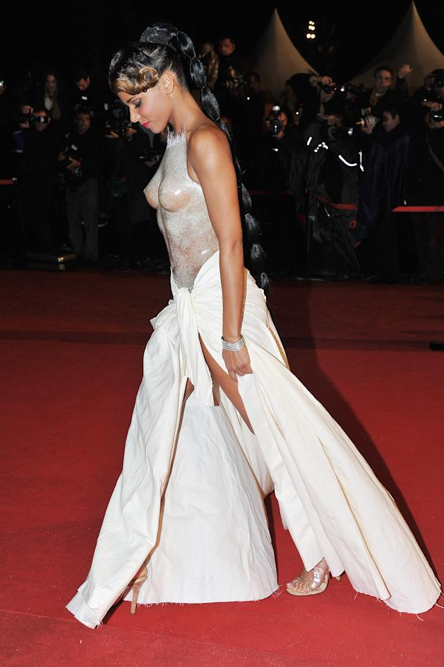CANNES, FRANCE - JANUARY 28:  Shy'm poses as she arrives at NRJ Music Awards 2012 at Palais des Festivals on January 28, 2012 in Cannes, France.  (Photo by Pascal Le Segretain/Getty Images)