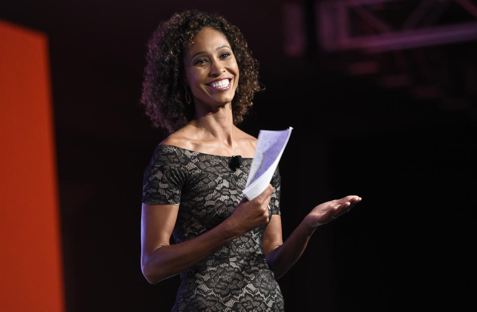 Sage Steele speaks at the 15th annual High School Athlete of the Year Awards at the Ritz-Carlton hotel on Tuesday, July 11, 2017, in Marina del Rey, Calif. (AP Photo/Chris Pizzello)