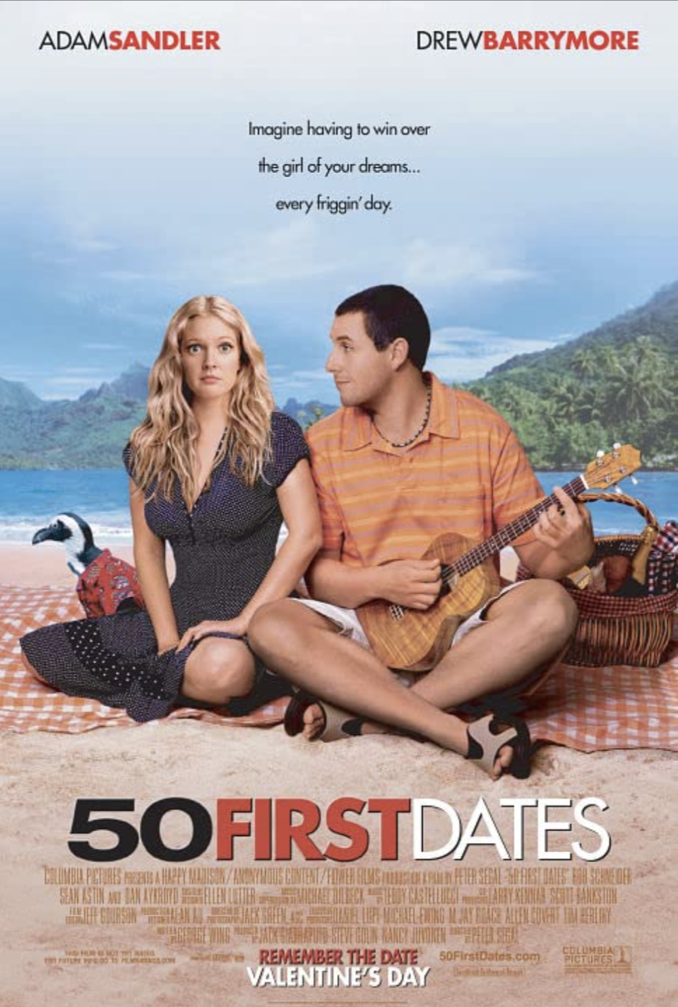 "<p>Drew Barrymore plays a woman whose memory resets every night, so Adam Sandler's character has to be extra creative to woo her in day after day after day. </p><p><a class=""link rapid-noclick-resp"" href=""https://www.netflix.com/search?q=50+first&jbv=60033311"" rel=""nofollow noopener"" target=""_blank"" data-ylk=""slk:STREAM NOW"">STREAM NOW</a></p>"