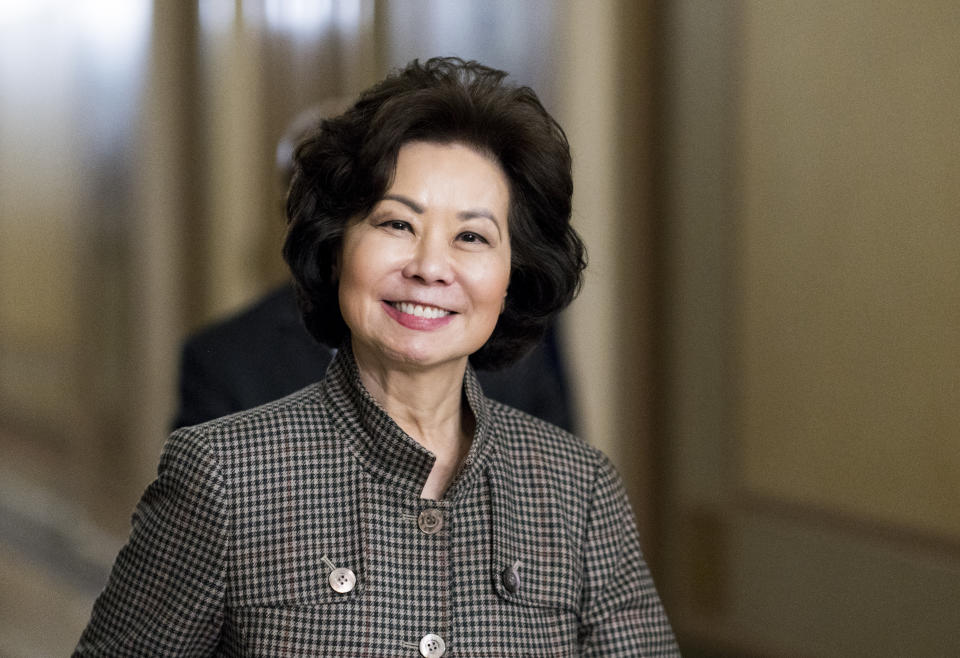 UNITED STATES - DECEMBER 10: Transportation Secretary Elaine Chao leaves the Capitol on Tuesday, Dec. 10, 2019. (Photo By Bill Clark/CQ-Roll Call, Inc via Getty Images)