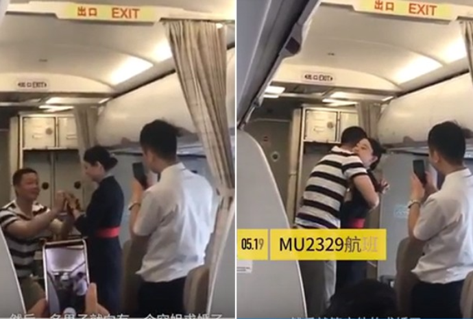 An air hostess has been fired after her boyfriend proposed to her during a flight. (Photos: YouTube/PearVideo)