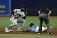 Tampa Bay Rays' Brandon Lowe slides safely into second base, beating the throw to Detroit Tigers shortstop Niko Goodrum during the third inning of a baseball game Sunday, Sept. 19, 2021, in St. Petersburg, Fla. (AP Photo/Scott Audette)