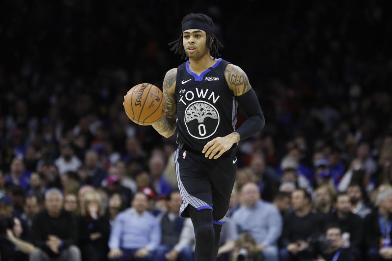 Golden State Warriors' D'Angelo Russell plays during an NBA basketball game against the Philadelphia 76ers, Tuesday, Jan. 28, 2020, in Philadelphia. (AP Photo/Matt Slocum)