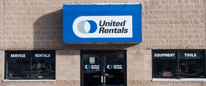 United Rentals sign and entrance. They rent equipment for just about any job out there.