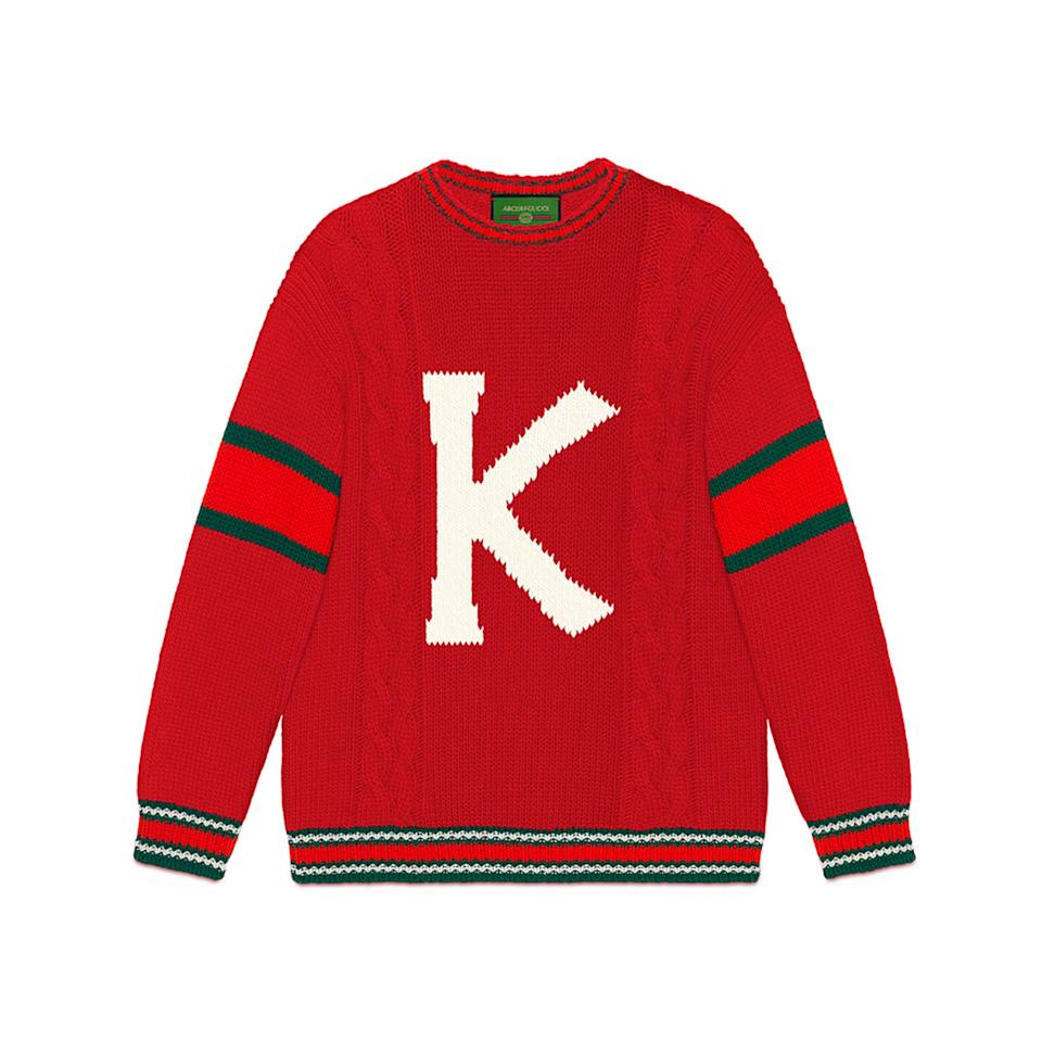 """<p>There's no need for an ugly Christmas sweater this holiday season when you can fully customize a chic vintage-inspired one, thanks to Gucci. Add any letter of the alphabet to a hunter green, ivory, red, and navy crewneck or cardigan style.</p> <p><strong>Buy now:</strong> Gucci sweater, $1,700, <a rel=""""nofollow"""" href=""""https://www.gucci.com/us/en/pr/diy/knitwear/diy-unisex-wool-sweater-p-537545X16493341/f?position=4&listName=ProductGrid&categoryPath=DIY/Knitwear%7B:target=_blank%7D%7B:%20rel=nofollow%7D"""">gucci.com</a>.</p>"""
