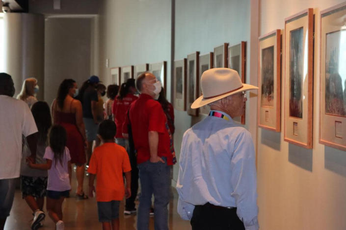 Crowds in the museum during the opening of the First Americans Museum in Oklahoma City on Saturday. (Photo/Darren Thompson for Native News Online)
