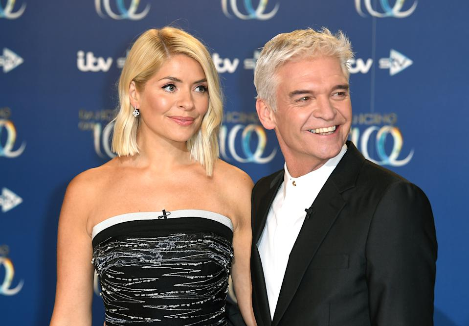 Holly Willoughby (left) and Phillip Schofield attending the Dancing on Ice 2020 launch held at Bovingdon Airfield, Hertfordshire. Photo credit should read: Doug Peters/EMPICS
