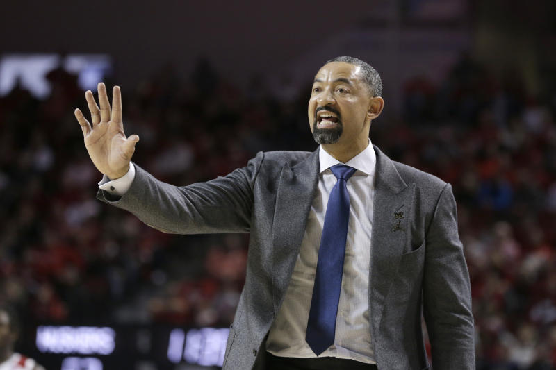 Michigan coach Juwan Howard gestures during the second half of an NCAA college basketball game against Nebraska in Lincoln, Neb., Tuesday, Jan. 28, 2020. Michigan won 79-68. (AP Photo/Nati Harnik)