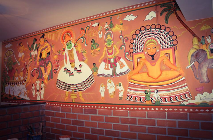 Lungees Foods, a Kerala themed restaurant in Bengaluru.The Kadhakali and theyyam, classical dance dramas, elephants, soldiers and canoe racing have all been captured to represent the spirit of Kerala.