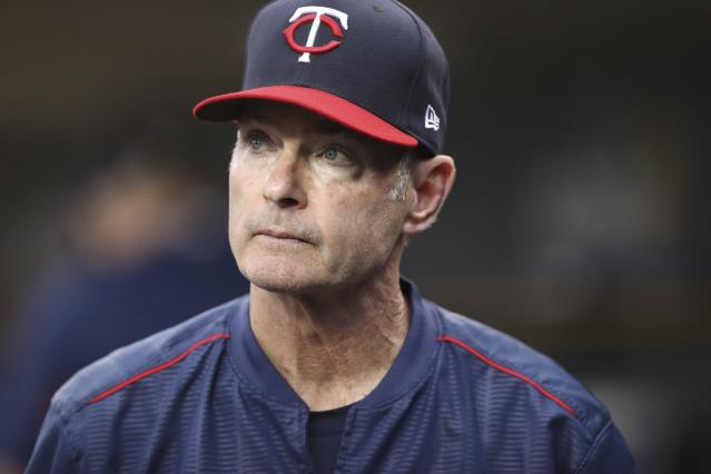 FILE - In this June 12, 2018, file photo, Minnesota Twins manager Paul Molitor is seen in the dugout during the third inning of a baseball game against the Detroit Tigers, in Detroit. The Minnesota Twins fired Paul Molitor on Tuesday, Oct. 2, 2018, one season after he won the American League Manager of the Year award. Molitor has been offered another position within the organization. (AP Photo/Carlos Osorio, File)