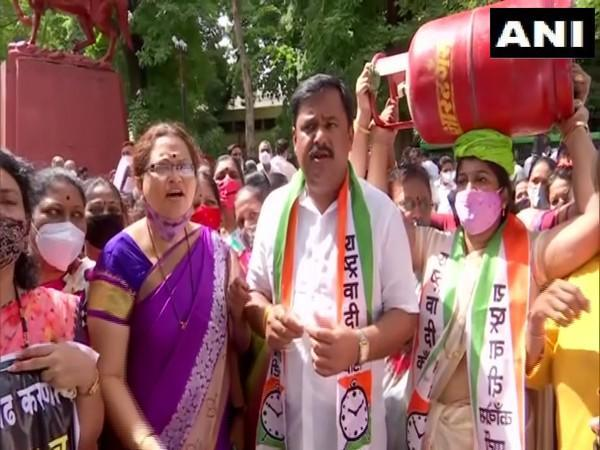 Visual from NCP's protest at Pune (Photo/ANI)