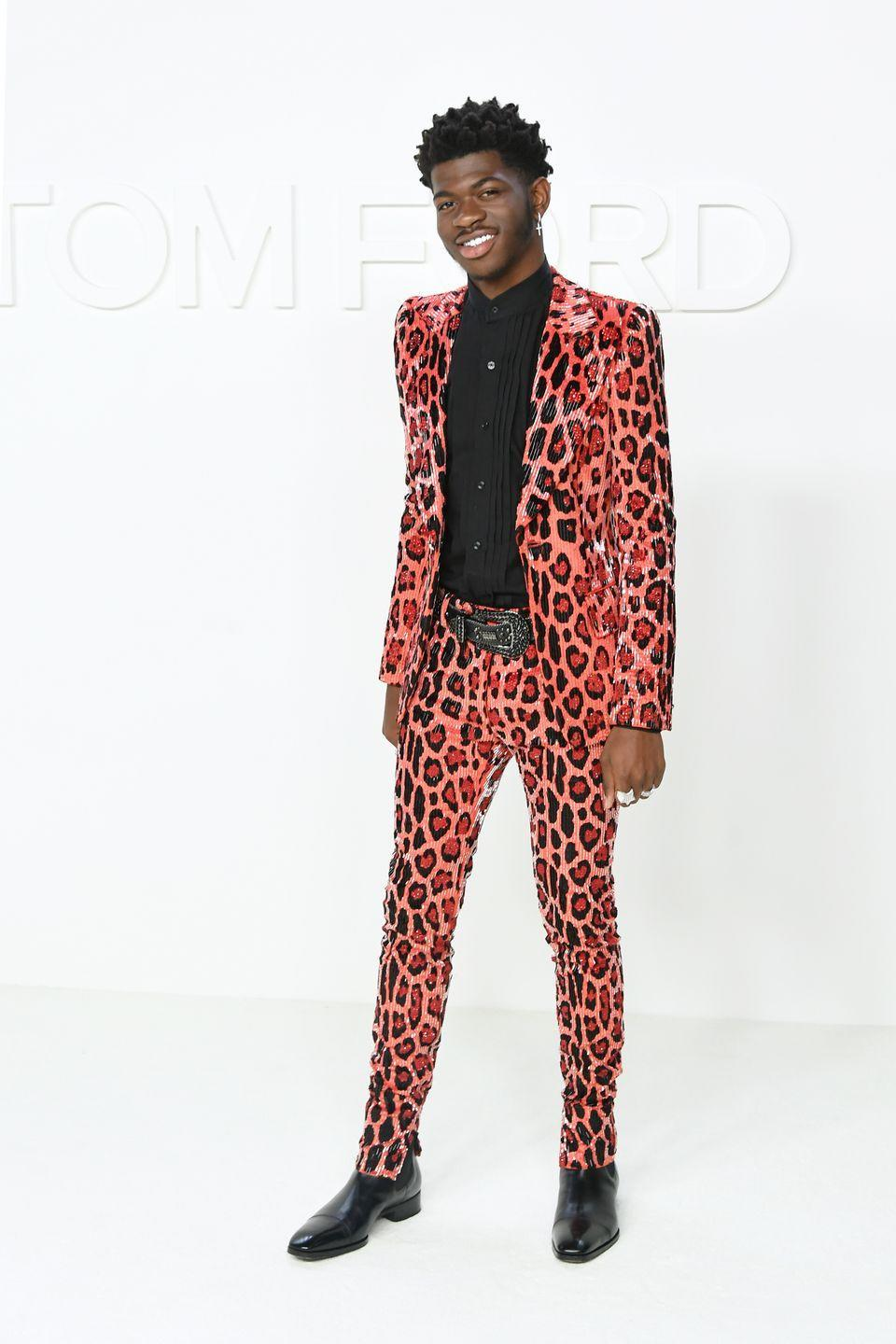 <p>You know Lil Nas had to be extra sharp for a Tom Ford event. This well-tailored leopard-print suit was the perfect combo of personality and sophistication.</p>