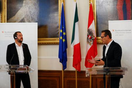 Italian Deputy Prime Minister Matteo Salvini and Austrian Vice Chancellor Heinz-Christian Strache hold a joint news conference in Vienna