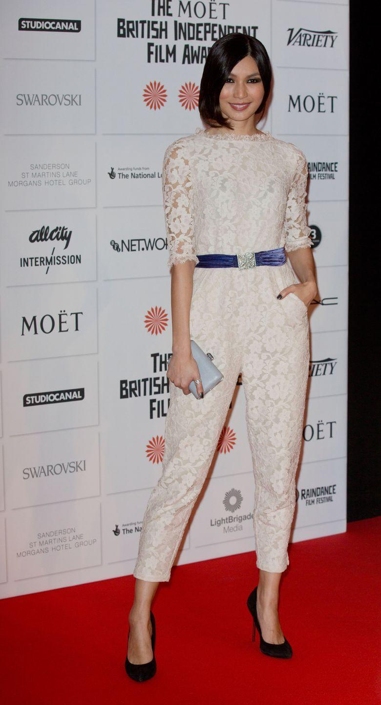 <p>Chan wore s a lace white jumpsuit, cinched in at the waist with a dusty blue velvet belt and topped off with black pointed stiletto heels.</p>