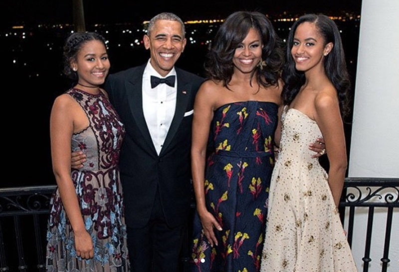 From left: Sasha, Barack, Michelle and Malia Obama.