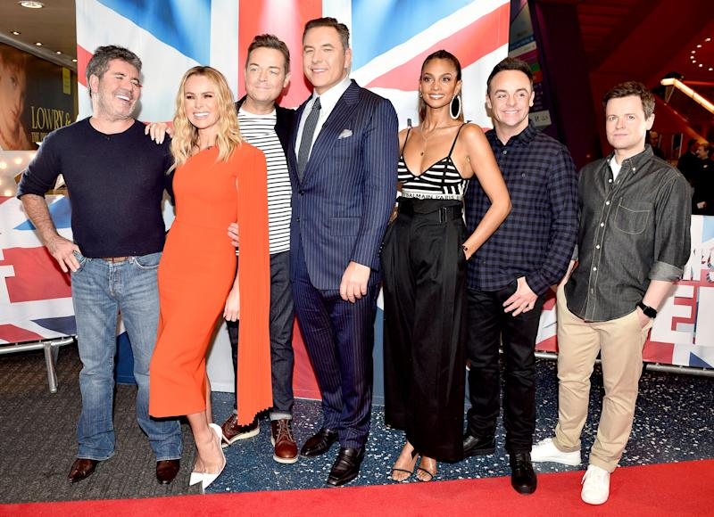 MANCHESTER, ENGLAND - FEBRUARY 06: Simon Cowell, Amanda Holden, Stephen Mulhern, David Walliams, Alesha Dixon, Anthony McPartlin and Declan Donnelly during the 'Britain's Got Talent' Manchester photocall at The Lowry on February 06, 2019 in Manchester, England. (Photo by Shirlaine Forrest/Getty Images)