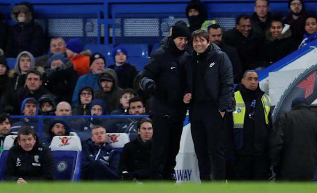 "Soccer Football - Premier League - Chelsea vs West Bromwich Albion - Stamford Bridge, London, Britain - February 12, 2018 Chelsea manager Antonio Conte talks with the fourth official Action Images via Reuters/Andrew Couldridge EDITORIAL USE ONLY. No use with unauthorized audio, video, data, fixture lists, club/league logos or ""live"" services. Online in-match use limited to 75 images, no video emulation. No use in betting, games or single club/league/player publications. Please contact your account representative for further details."