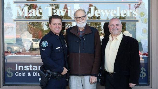 PHOTO: David Eaton got the surprise of his life from Irvine Police Officer Brian Smith and jeweler Harry Mardirossian after they worked for over a month to re-create his lost wedding ring and surprise him on Feb. 4, 2020. (Irvine Police Department)