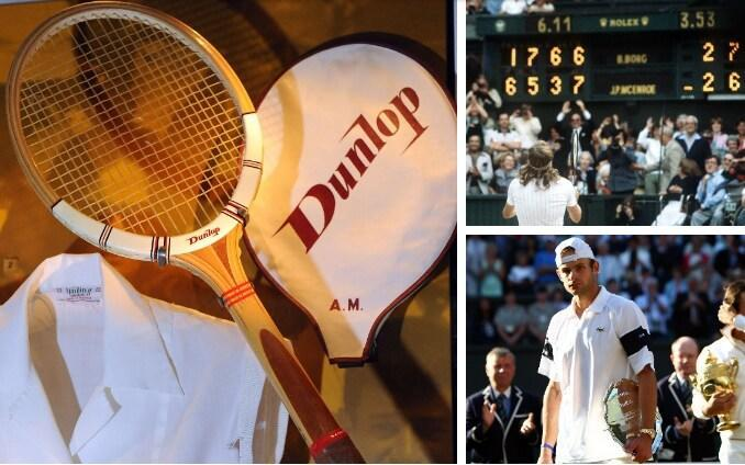 A Dunlop Myplax, Andy Roddick, and Bjorn Borg celebrating his Wimbledon victory -Serve-volleyers, tantrums, and wooden rackets: 25 sights you no longer see in tennis - GETTY IMAGES