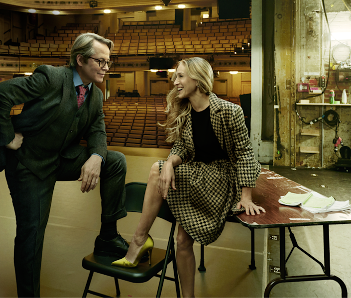 The show must go on! Broadway will fully reopen on September 14. Here, Matthew Broderick and Sarah Jessica Parker posed for <em>Vogue</em> while they were starring in a production of Plaza Suite.