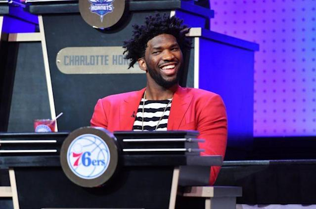 "<a class=""link rapid-noclick-resp"" href=""/nba/players/5294/"" data-ylk=""slk:Joel Embiid"">Joel Embiid</a> was all smiles at the NBA draft lottery. (Getty)"