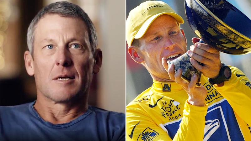 Seen here, Lance Armstrong speaking on the documentary series about his career fall from grace.