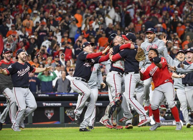 The Nationals' rise from 19-31 to World Series champions gained its resonance from the human journeys, not simple probability. (Photo by Jonathan Newton /The Washington Post via Getty Images)