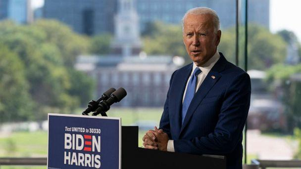 PHOTO: Independence Hall is seen in the distance as Democratic presidential candidate and former Vice President Joe Biden speaks at the Constitution Center in Philadelphia, Sunday, Sept. 20, 2020, about the Supreme Court.  (Carolyn Kaster/AP)