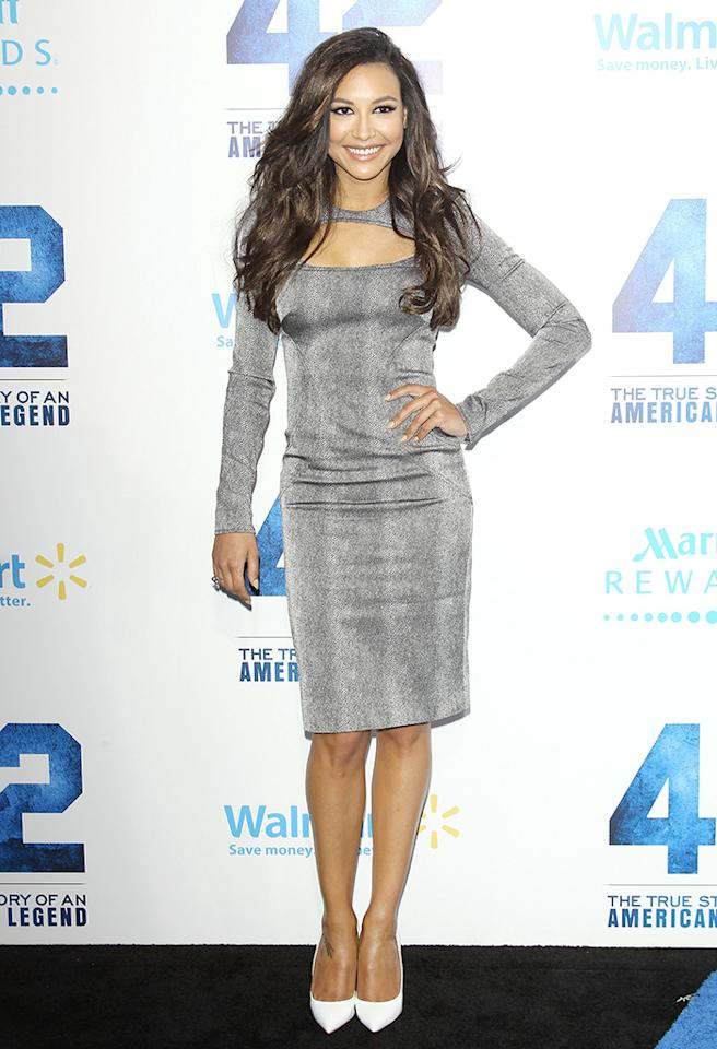 "HOLLYWOOD, CA - APRIL 09:  Naya Rivera arrives at the Los Angeles premiere of ""42"" held at TCL Chinese Theatre on April 9, 2013 in Hollywood, California.  (Photo by Michael Tran/FilmMagic)"