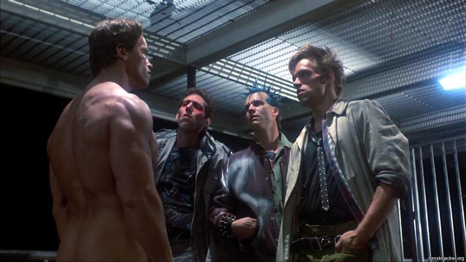 """<p>Yes, it's another one from 'The Terminator' which came up a few times throughout Arnie's filmography. Confronted by a disgruntled motel manager, the T-800 repeats what his would-be assailants said to him in the first scene: """"F*** you a**hole."""" Yes, Schwarzenegger is very good at swearing; this won't be the only line in this selection that we'll be obliged to censor. (Picture credit: MGM-UA) </p>"""