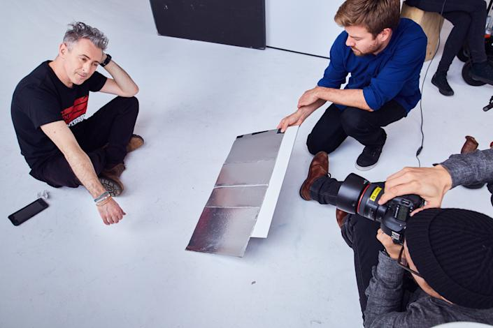 """Actor Alan Cummingbehind the scenes of the """"I Am An Immigrant"""" photo shoot."""