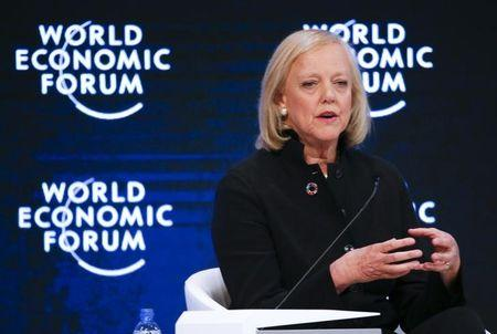 Meg Whitman, President and Chief Executive Officer, Hewlett Packard Enterprise, attends the annual meeting of the World Economic Forum (WEF) in Davos, Switzerland, January 18, 2017. REUTERS/Ruben Sprich
