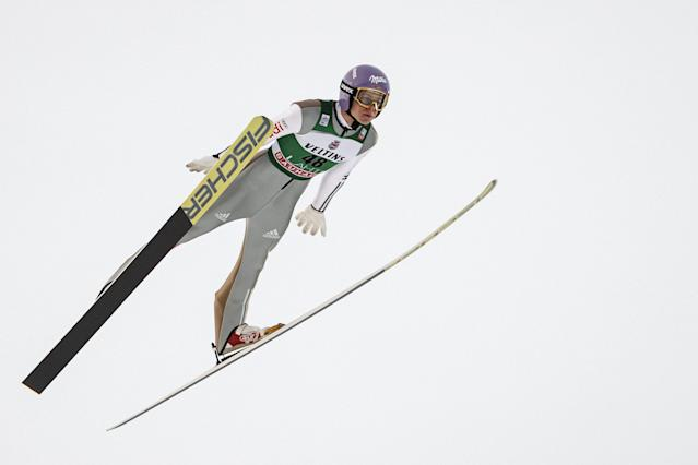 Lahti Ski Games - FIS Nordic World Cup - Men's Ski Jumping - Lahti, Finland - March 4, 2018. Andreas Wellinger of Germany competes. LEHTIKUVA/Roni Rekomaa via REUTERS ATTENTION EDITORS - THIS IMAGE WAS PROVIDED BY A THIRD PARTY. NO THIRD PARTY SALES. NOT FOR USE BY REUTERS THIRD PARTY DISTRIBUTORS. FINLAND OUT. NO COMMERCIAL OR EDITORIAL SALES IN FINLAND.