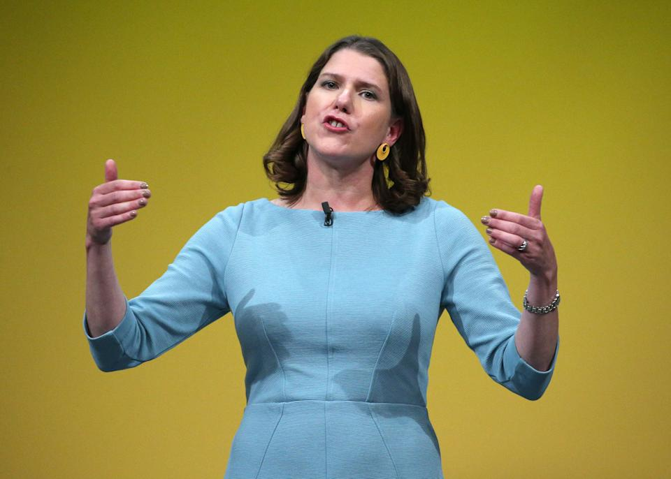 Liberal Democrat leader Jo Swinson makes her keynote speech during the Liberal Democrats autumn conference at the Bournemouth International Centre in Bournemouth.