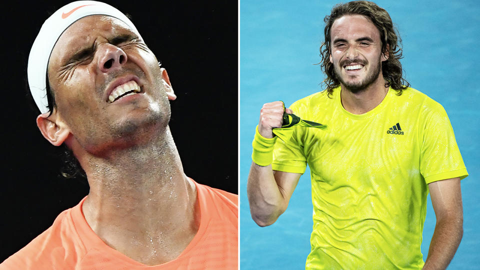 Stefanos Tsitsipas and Rafael Nadal, pictured here in action at the Australian Open.
